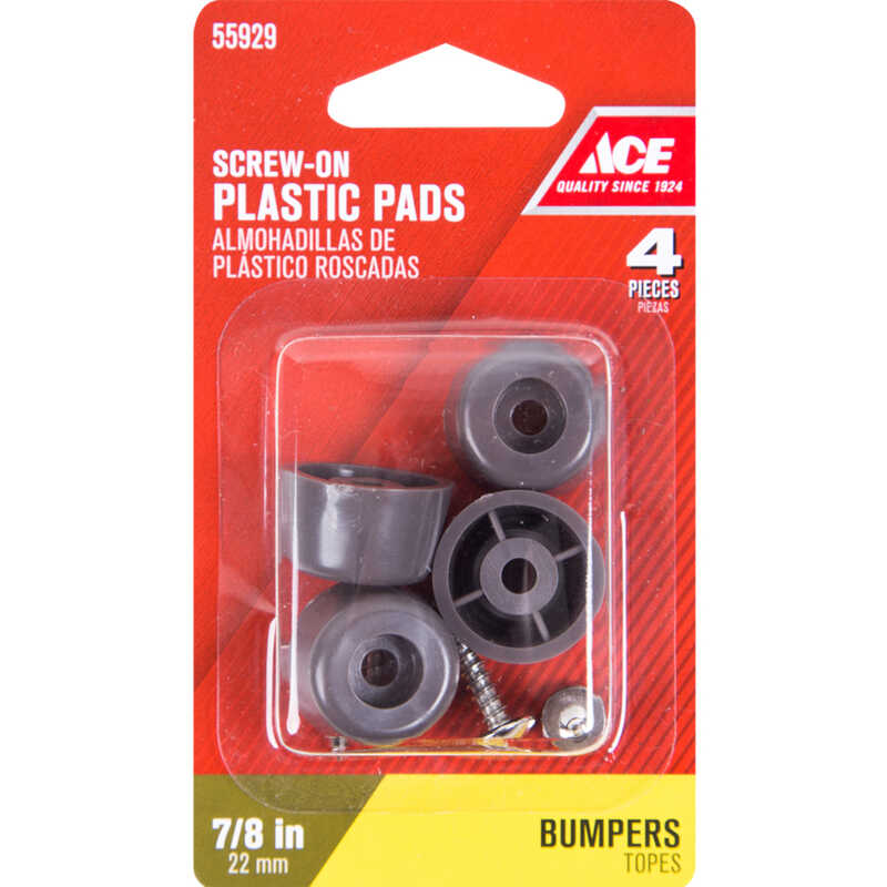 Ace  Plastic  Bumper Pads  Brown  Round  7/8 in. W 4 pk