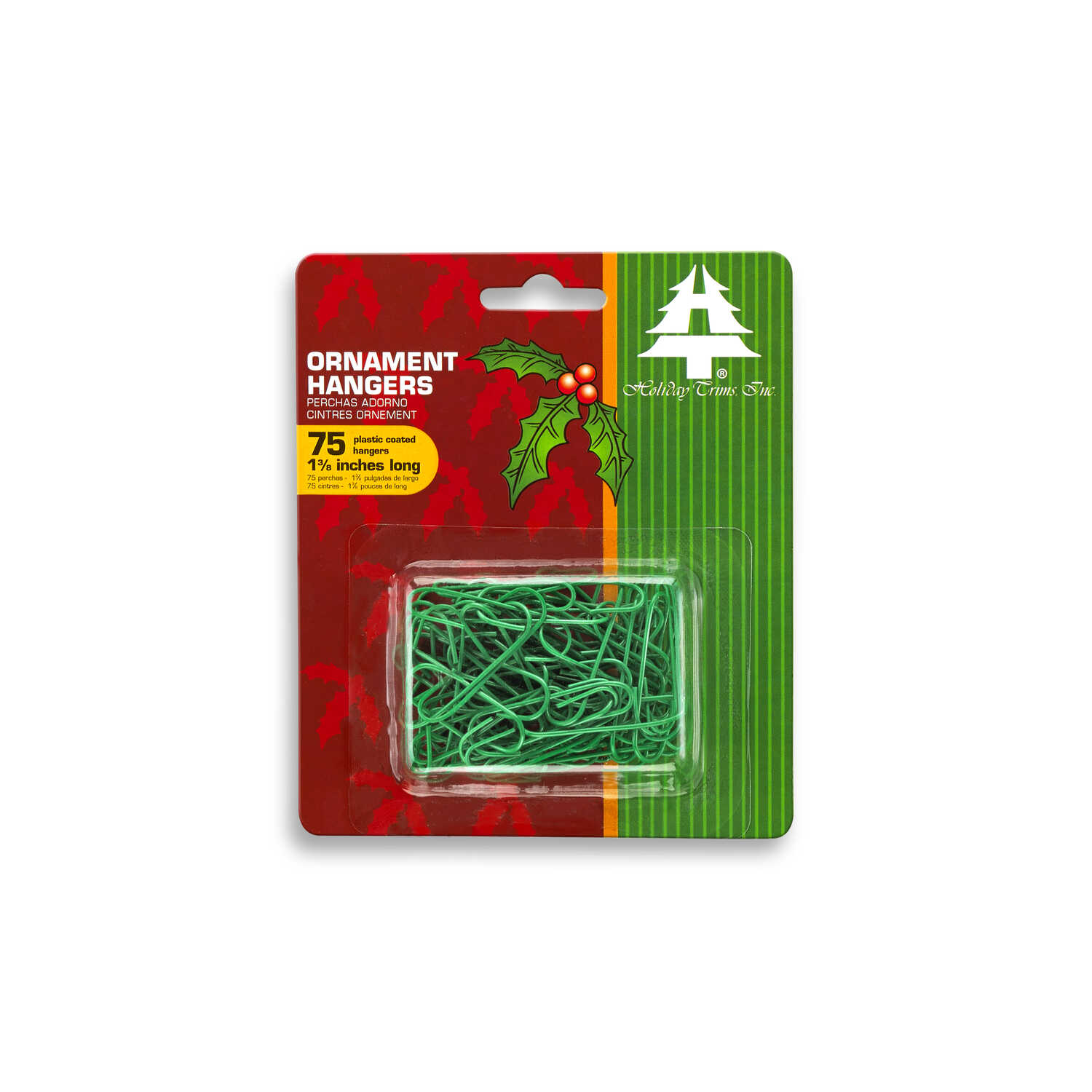 Holiday Trims  Ornament Hooks  Ornament Hangers  Green  Plastic  0.5 inch  75 pk