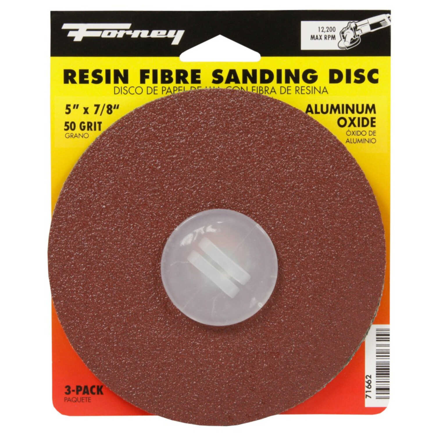 Forney  5 in. Aluminum Oxide  Adhesive  Sanding Disc  50 Grit Coarse  3 pk