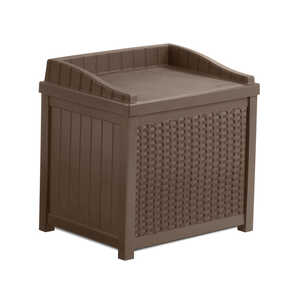 Suncast  Resin Wicker  22-1/2 in. H x 22-1/2 in. W x 17.5 in. D Brown  Storage Seat