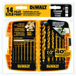 DeWalt  Pilot Point  Multi Size in. Dia. x Multi  L Drill Bit Set  Straight Shank  14 pc. Titanium