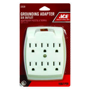 Standard outlet adapters adapters ace hardware ace grounded 6 surge protection 6 outlet adapter publicscrutiny Image collections