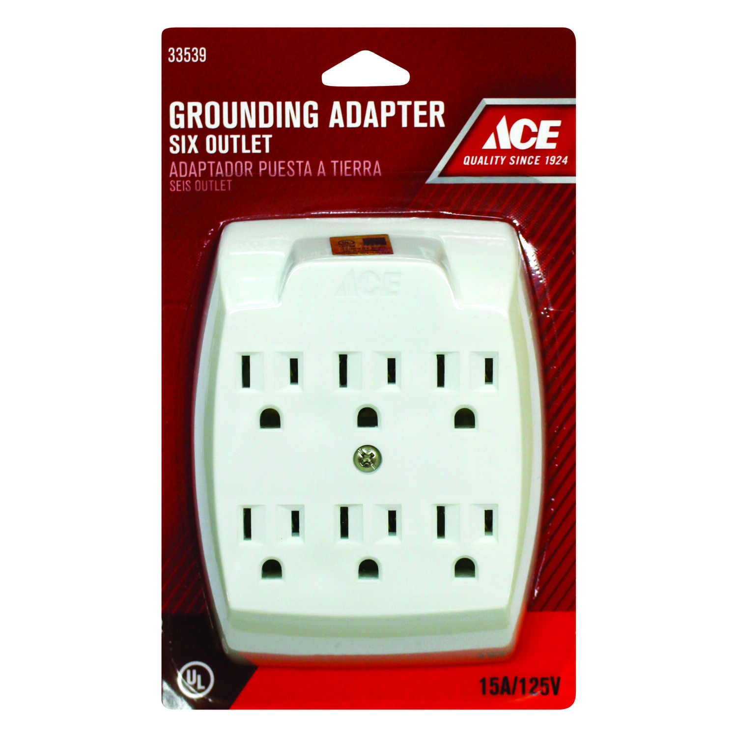Ace  Grounded  6  Surge Protection 6-Outlet Adapter  1 pk