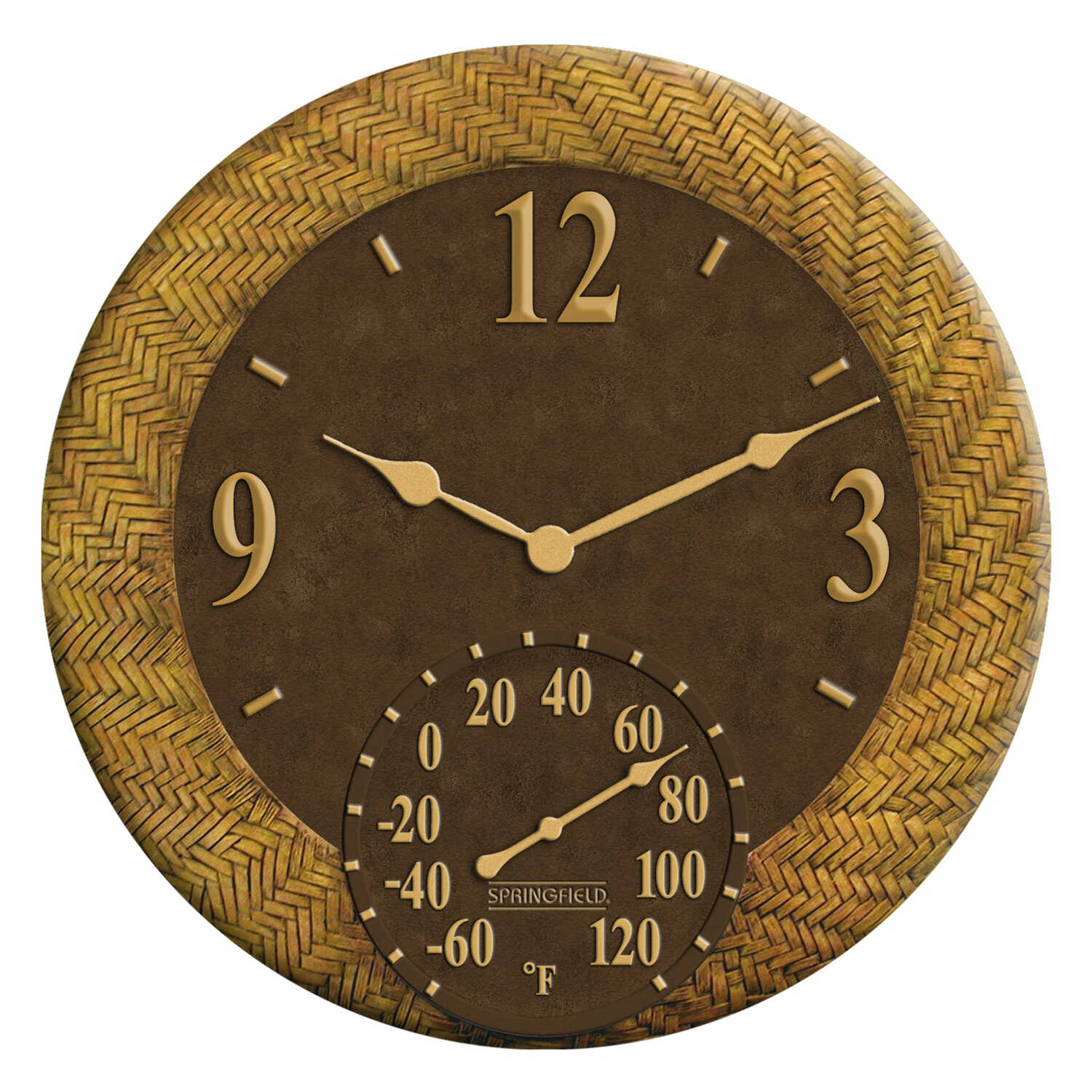 Taylor  Dial  Clock/Thermometer  Resin  Brown