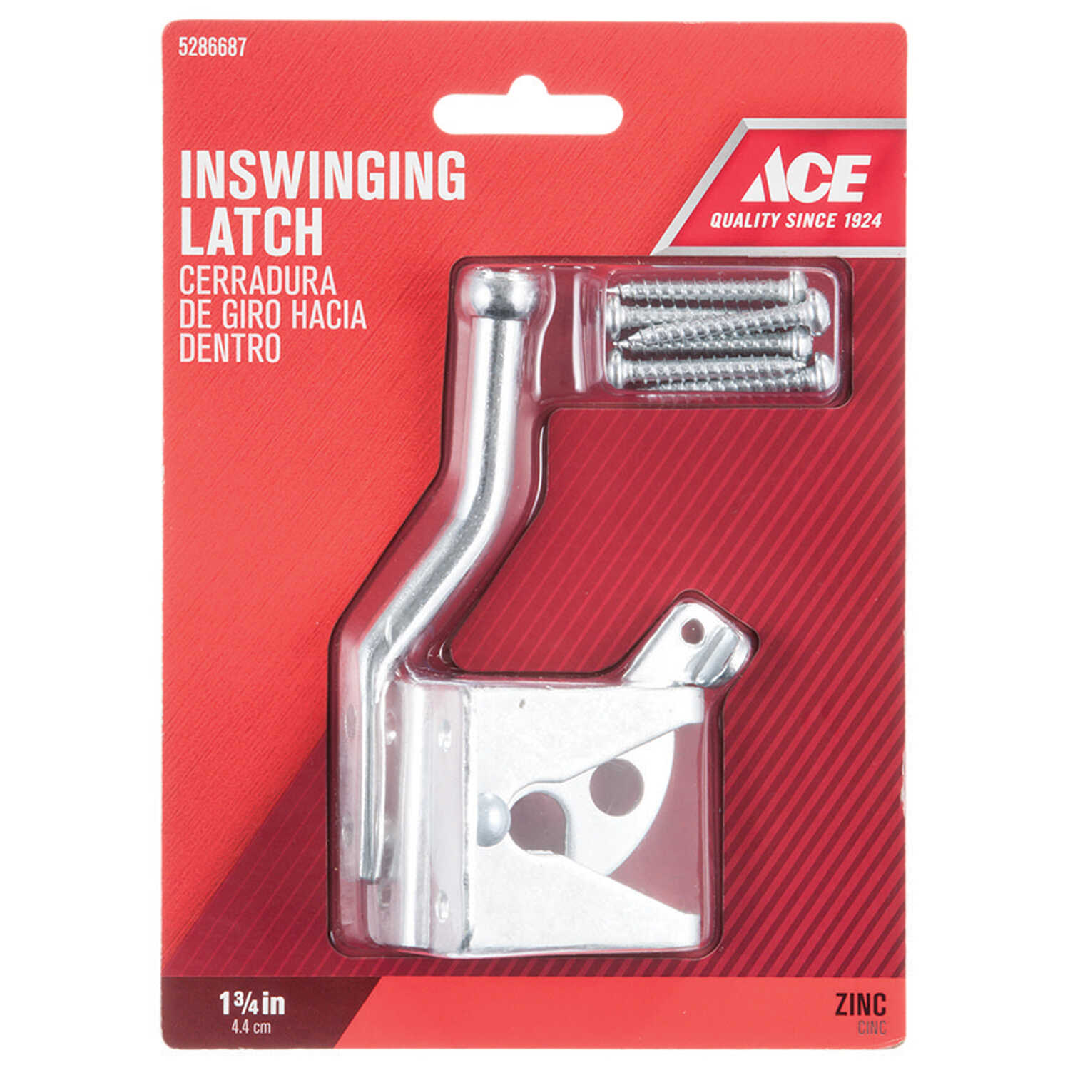 Ace  6.89 in. H x 5 in. W x 1.89 in. L Zinc-Plated  Metallic  Zinc  Gate Latch