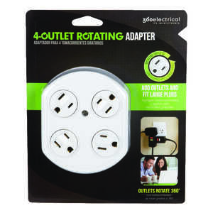 360 Electrical  Grounded  4 outlets 1 pk Surge Protection Outlet Tap