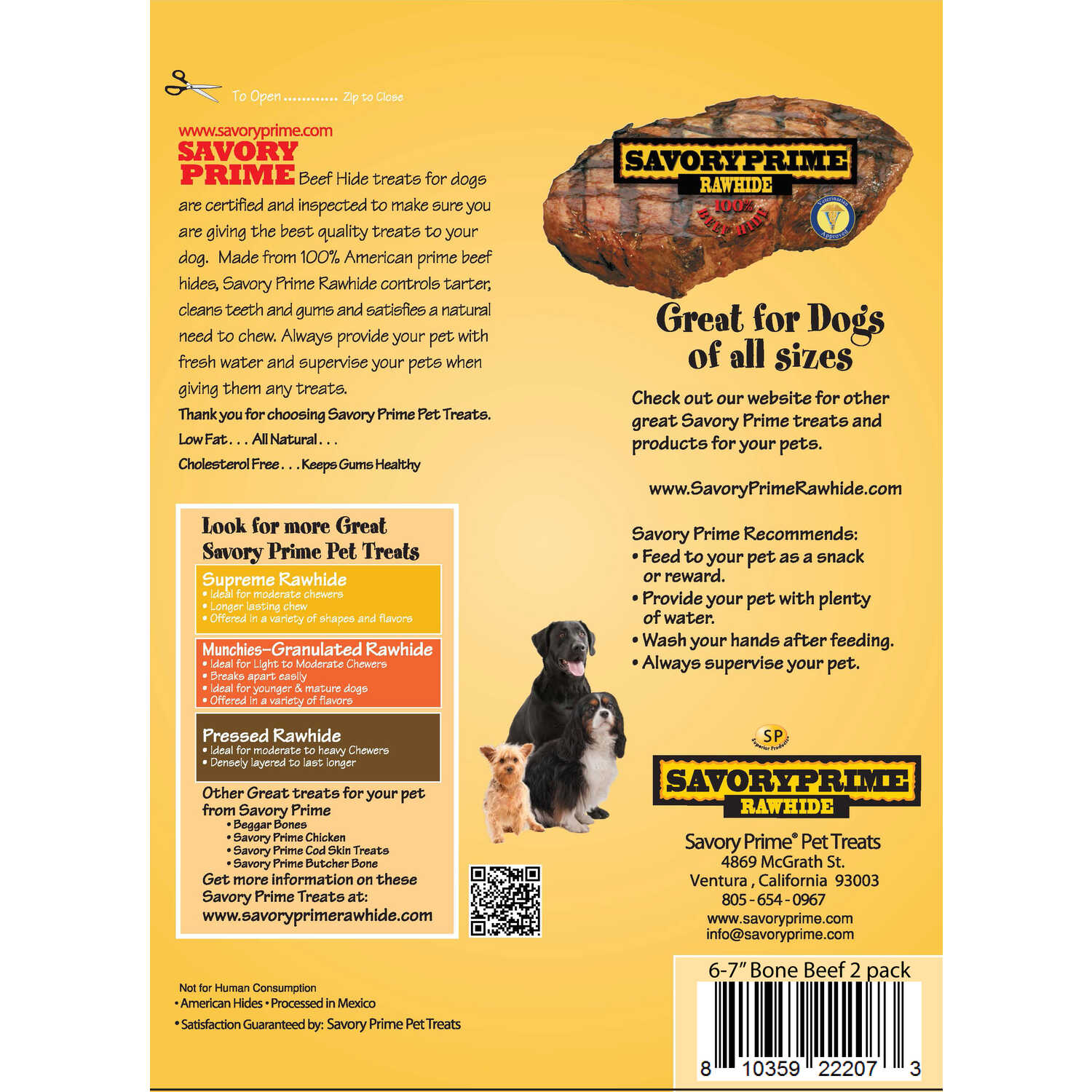 Savory Prime  Large  Adult  Knotted Bone  Beef  7 in. L 2 pk