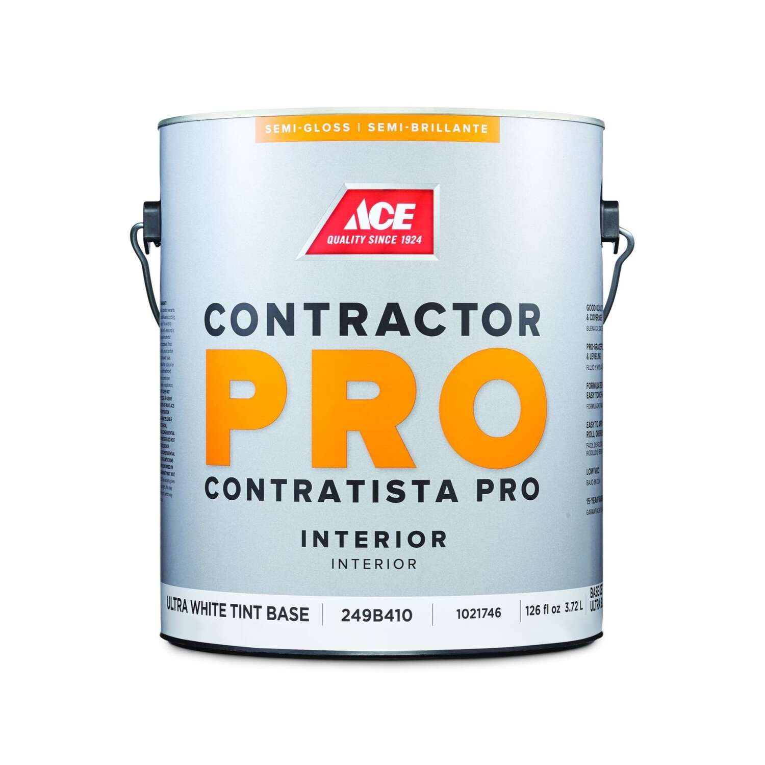 Ace  Contractor Pro  Semi-Gloss  Tint Base  Ultra White Base  Paint  Interior  1 gal.