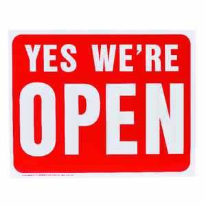 Hy-Ko  English  Yes We're Open / Sorry We're Closed  Sign  Plastic  15 in. H x 19 in. W