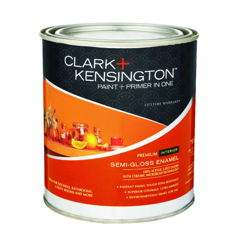 Clark kensington semi gloss designer white acrylic latex paint and primer