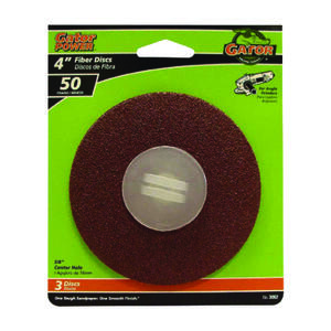 Gator  4 in. Aluminum Oxide  Center Mount  Fiber Disc  50 Grit Coarse  3 pk