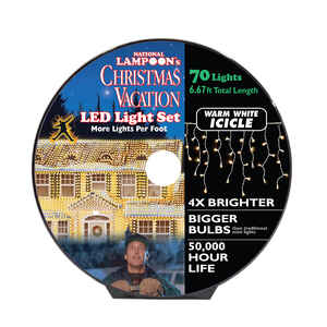 National Lampoon's  LED Concave  Icicle  Commercial Light Set  Warm White  6-11/16 ft. 70 lights
