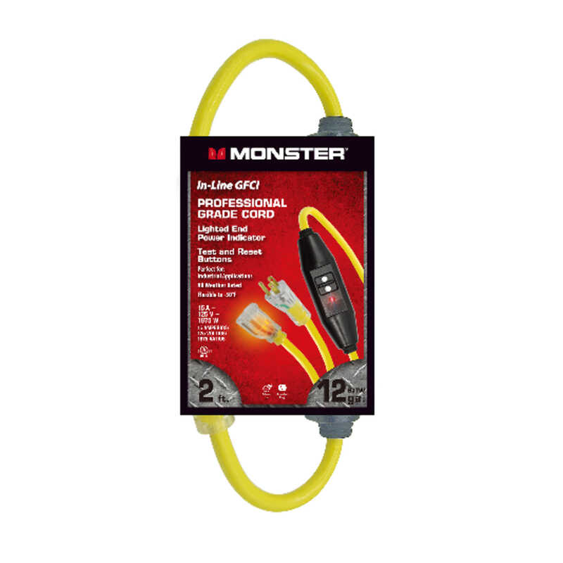 Monster Cable  2 ft. L Yellow  Indoor and Outdoor  12/3 SJTW  Extension Cord