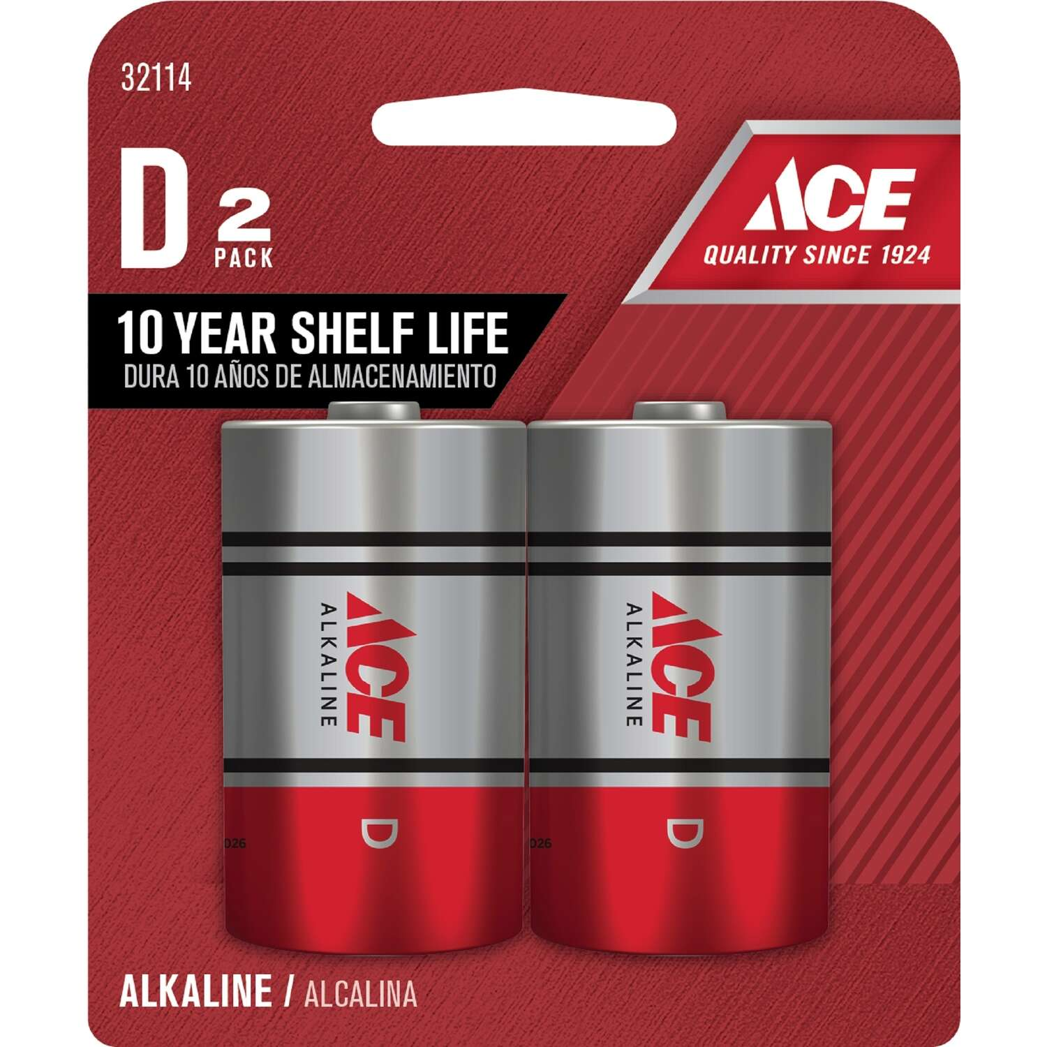 Ace  D  Alkaline  Batteries  1.5 volt 2 pk Carded
