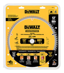 DeWalt  12 in. Dia. x 1 in.  Carbide  Circular Saw Blade  80 teeth 1 pk