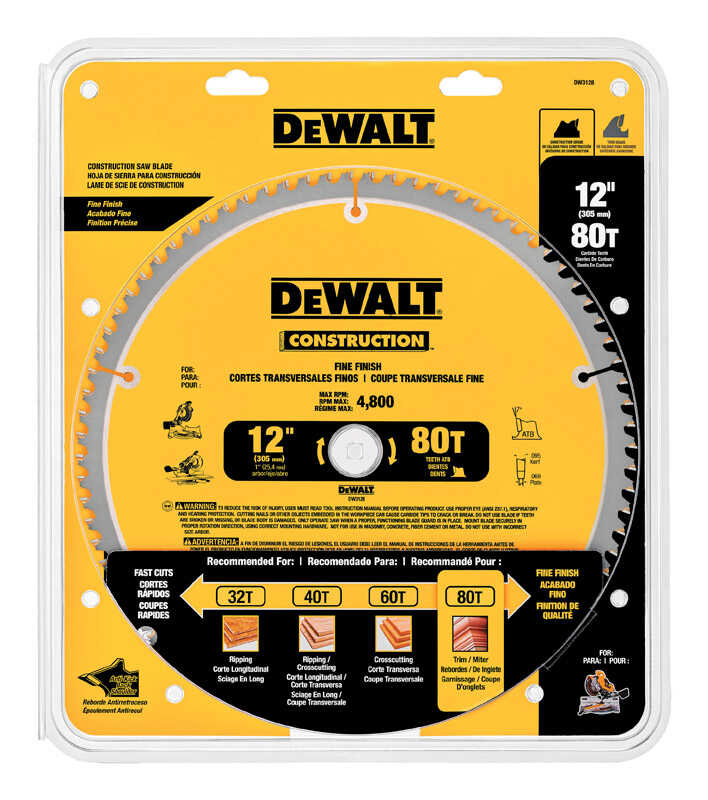 DeWalt  12 in. Dia. x 1 in.  Carbide Tipped  Construction  Circular Saw Blade  80 teeth 1 pk