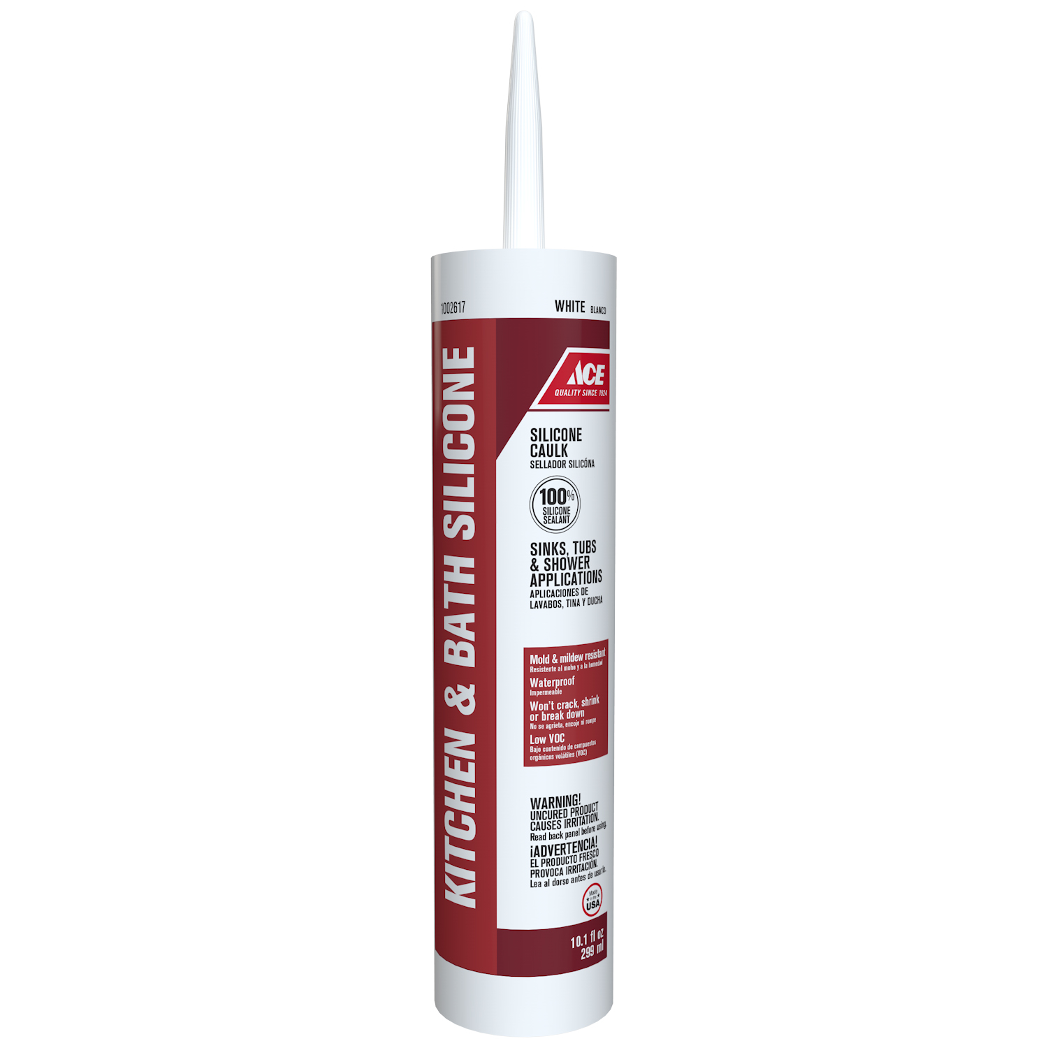 Ace  White  Caulk  10.1 oz. Silicone