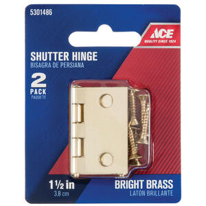 Ace  1-1/2 in. L Bright Brass  Shutter Hinge  2 pk