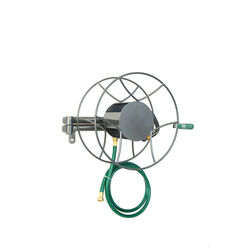 Yard Butler 100 ft. Wall Mount Silver Hose Reel
