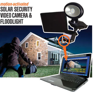 MAXSA Innovations  Motion-Sensing  Solar Powered  LED  Black  Security Video Camera and Floodlight