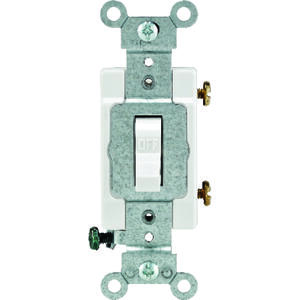 Leviton  Commercial  15 amps Toggle  Switch  White  1 pk