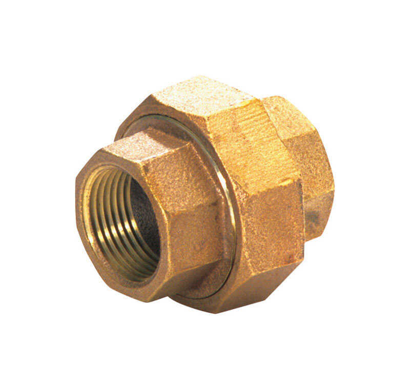 JMF  1 in. Dia. x 1 in. Dia. FPT To FPT To Threaded  Red Brass  Union