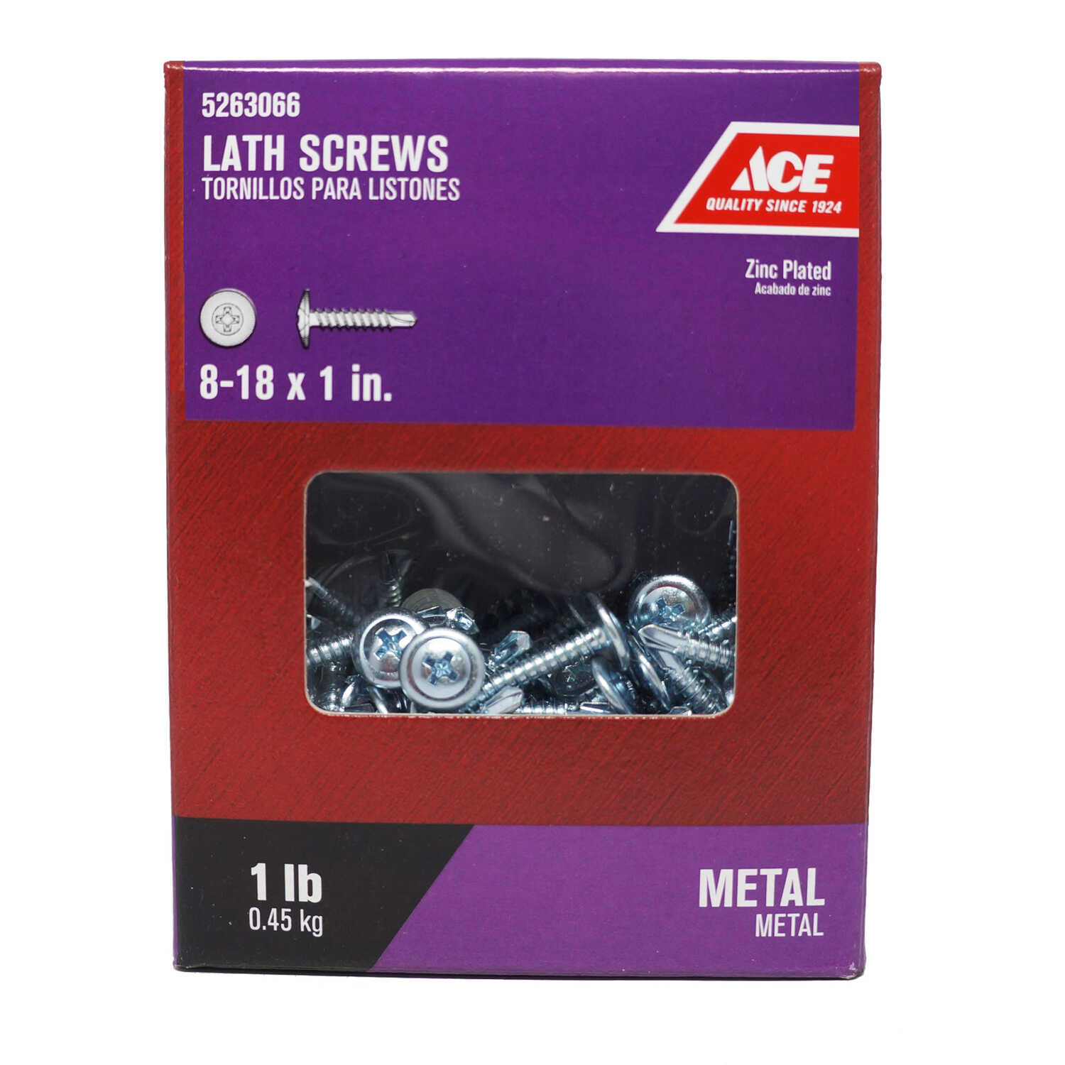 Ace  No. 8   x 1 in. L Phillips  Truss Washer Head Zinc-Plated  Steel  Lath Screws  1 lb. 172 pk
