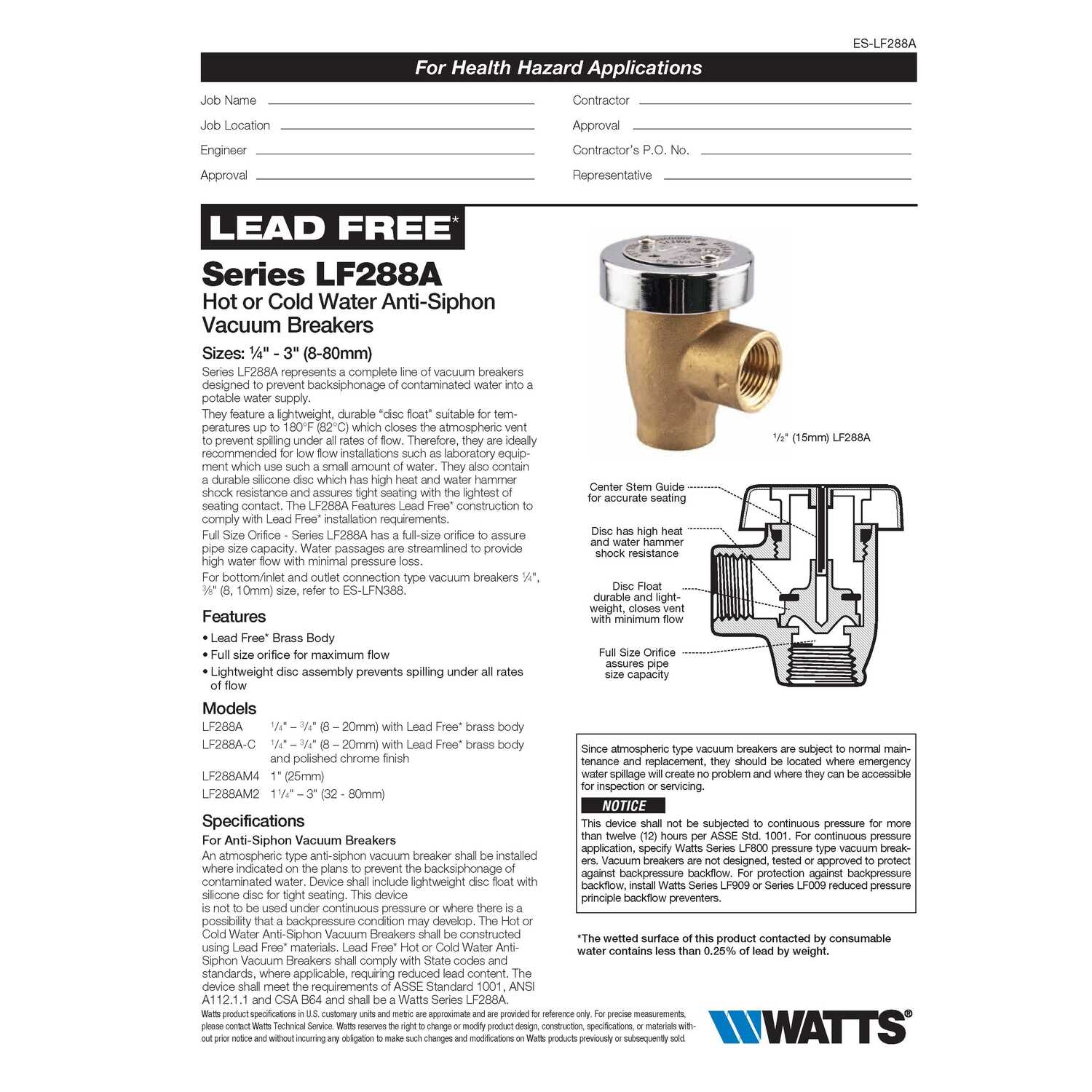 Watts  Brass  Anti-Siphon Vacuum Breaker
