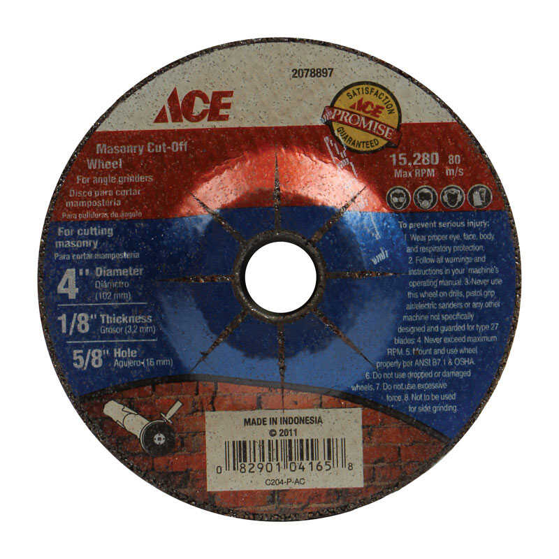 Ace  4 in. Silicon Carbide  Masonry Cut-Off Wheel  1/8 in. thick  x 5/8 in.  1 pk