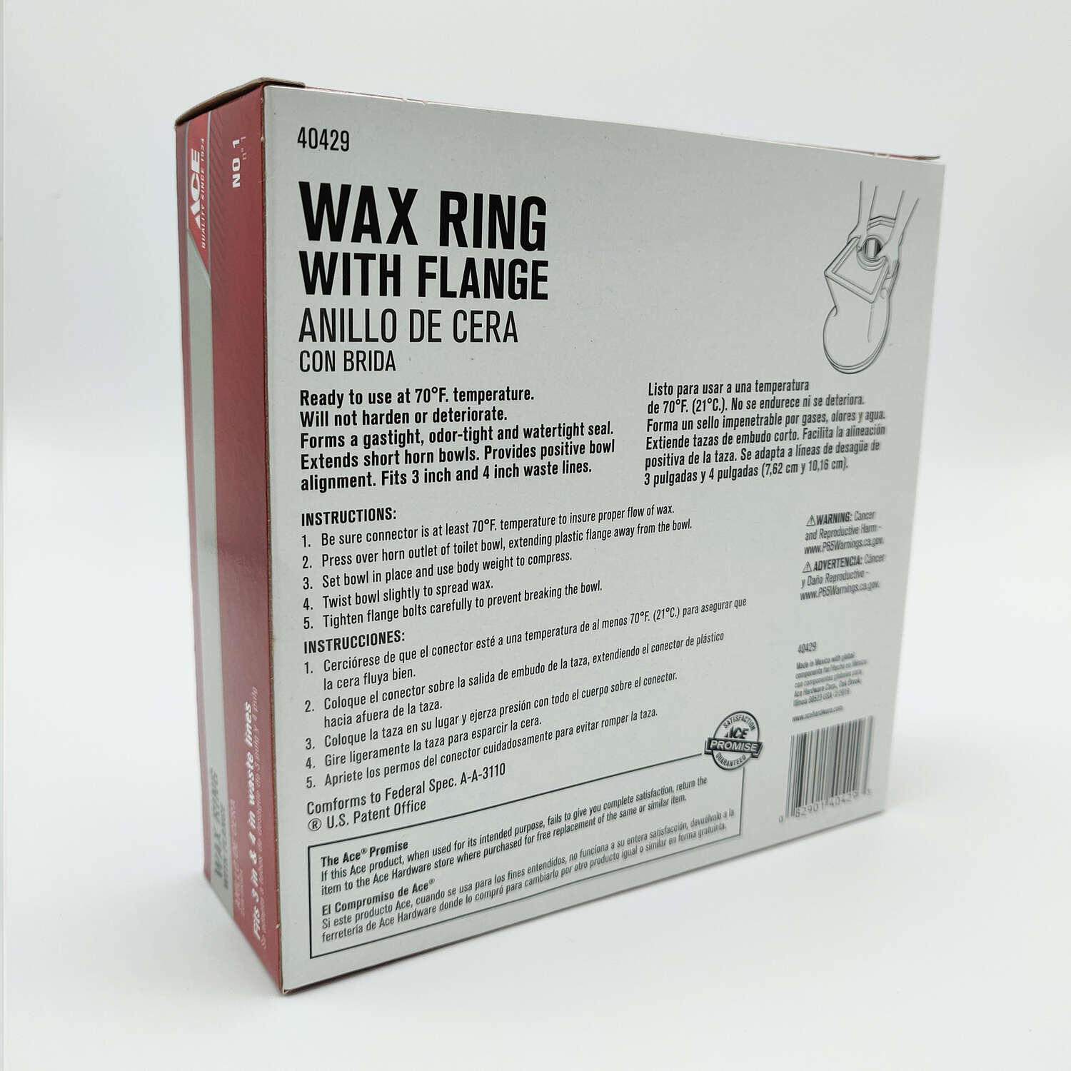 Ace  3 ID  Wax Ring with Flange  4 OD