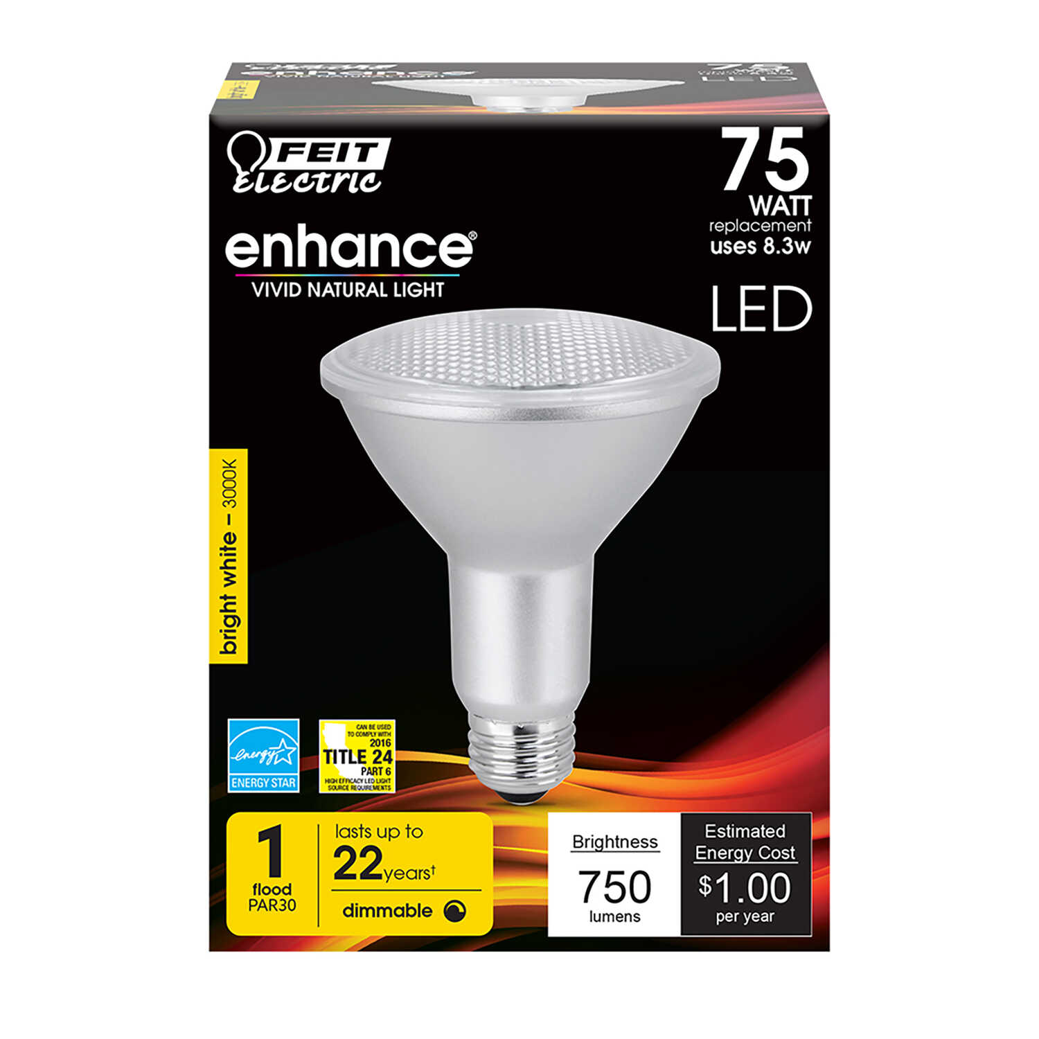 FEIT Electric  8.3 watts PAR30  LED Bulb  750 lumens Bright White  Floodlight  75 Watt Equivalence