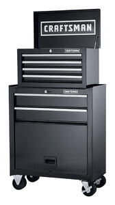 Craftsman  26.5 in. 6 drawer Steel  Rolling Tool Cabinet  44.25 in. H x 14 in. D Black