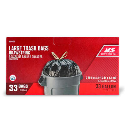 Ace  33 gal. Trash Bags  Drawstring  33 pk