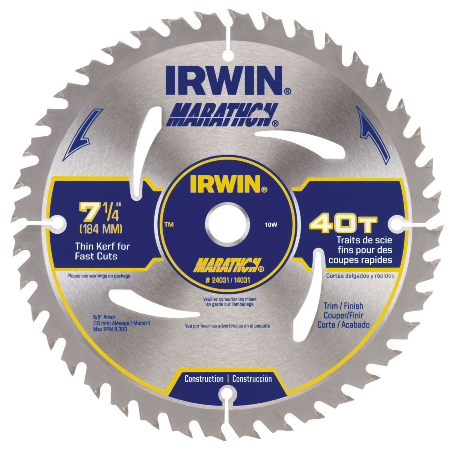 Irwin  Marathon  7-1/4 in.  Dia. x 5/8 in.  Carbide  Marathon  Circular Saw Blade  40 teeth 1 pk