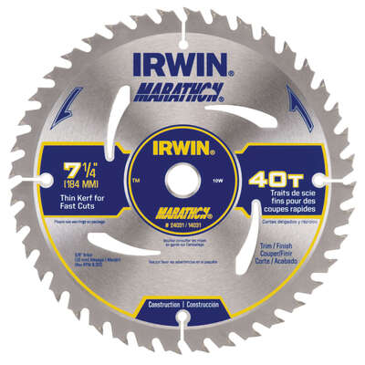 Irwin  Marathon  7-1/4 in. Dia. x 5/8 in.  Carbide  Circular Saw Blade  40 teeth 1 pk