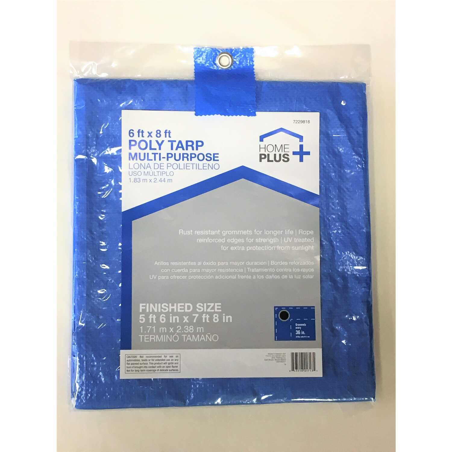 Home Plus  6 ft. W x 8 ft. L Light Duty  Polyethylene  Tarp  Blue