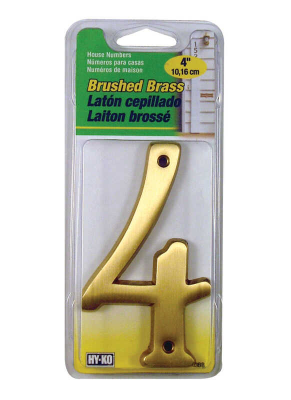 Hy-Ko  Brass  4  Number  4 in. Gold  Nail-On