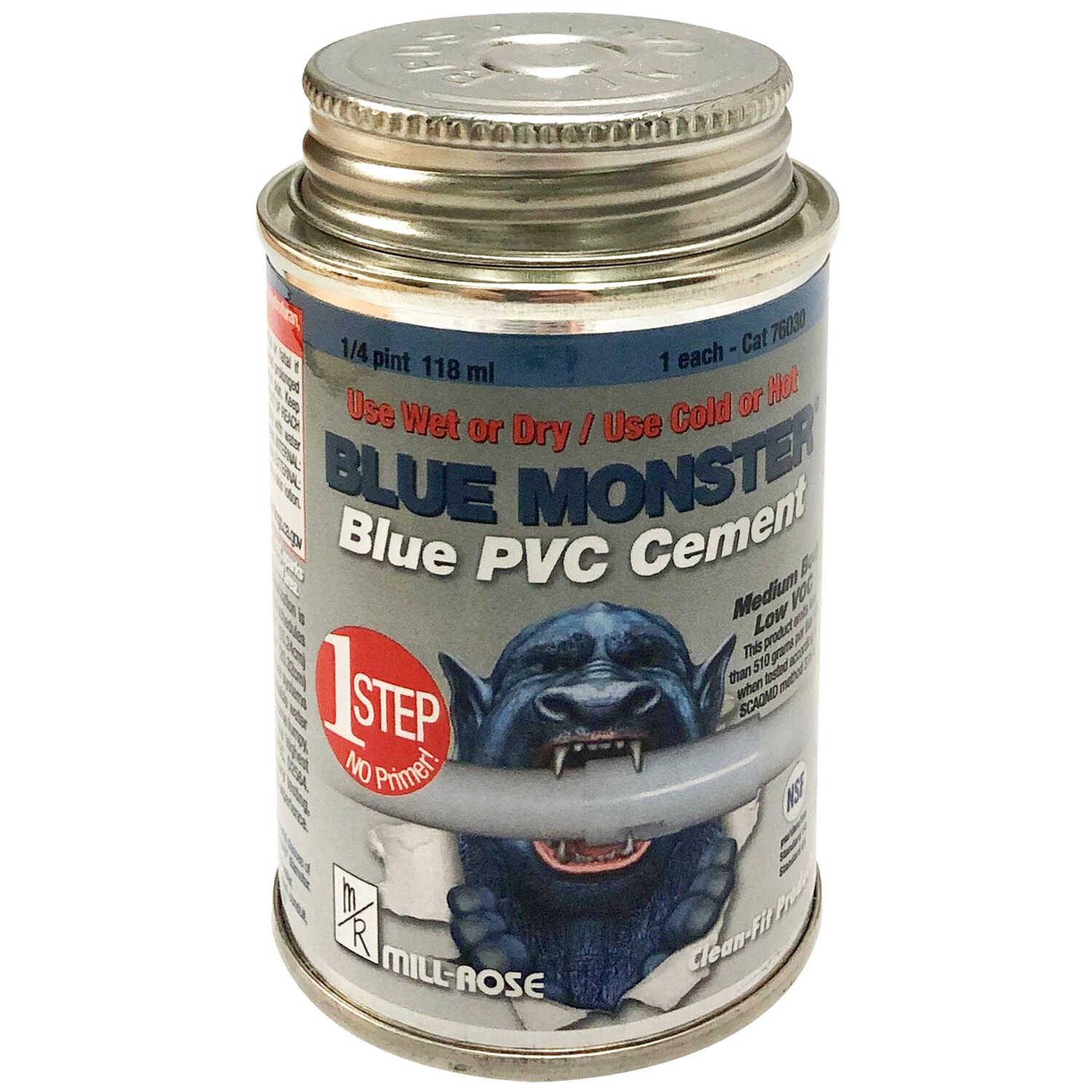 Blue Monster  Blue  All Weather Cement  For PVC 4 oz.