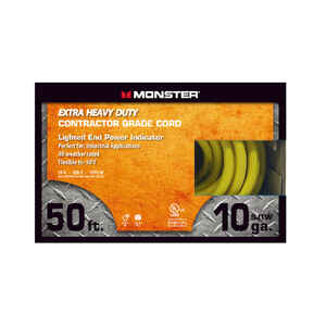 Monster Cable  Outdoor  50 ft. L Yellow  Extension Cord  10/3 SJTW
