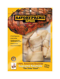 Savory Prime  Medium  Adult  Knotted Bone  Natural  7 in. L 6 pk