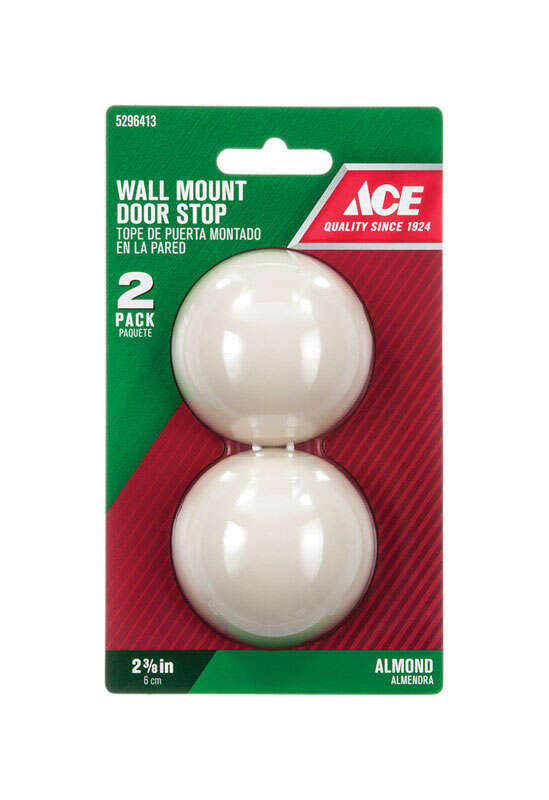 Ace  6.518 in. H x 2-3/8 in. W Plastic  Almond  Wall Door Stop  Mounts to wall