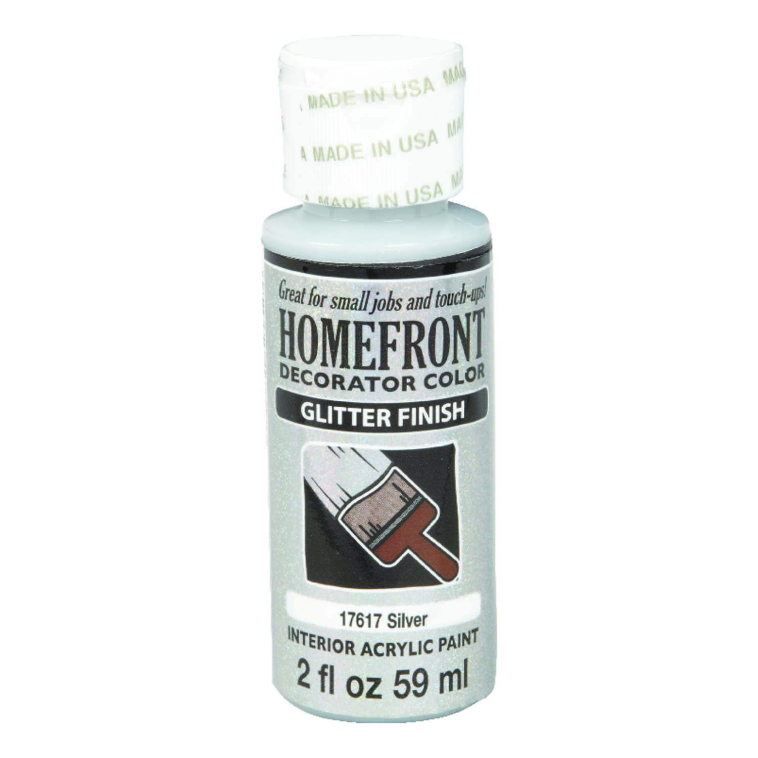Homefront  Glitter  Silver  Hobby Paint  2 oz.