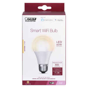 FEIT Electric  A19  E26 (Medium)  Smart WiFi LED Bulb  Soft White  60 Watt Equivalence 1 pk
