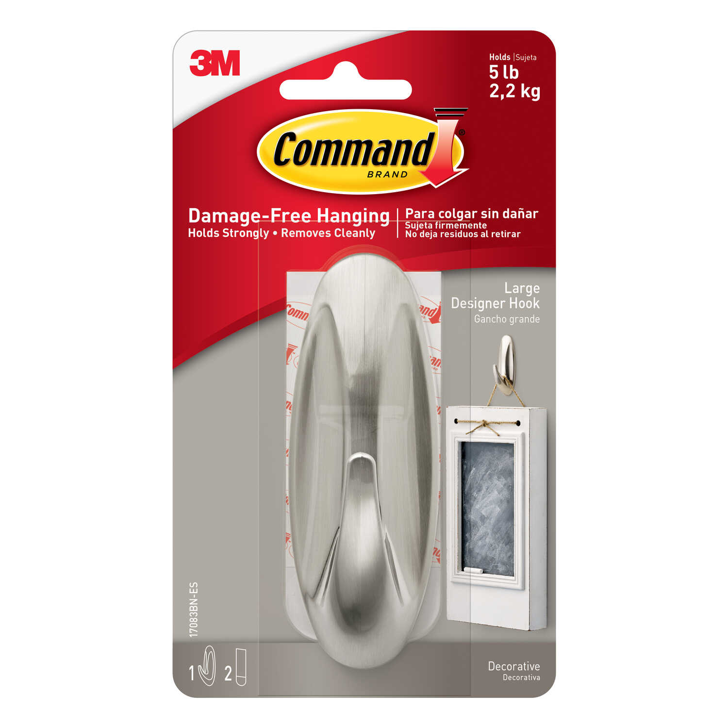 3M  Command  Large  Metal  Hook  4-1/8 in. L 1 pk