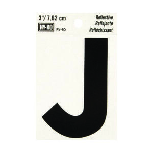 Hy-Ko  3 in. Reflective Black  Vinyl  Letter  J  Self-Adhesive  1 pc.