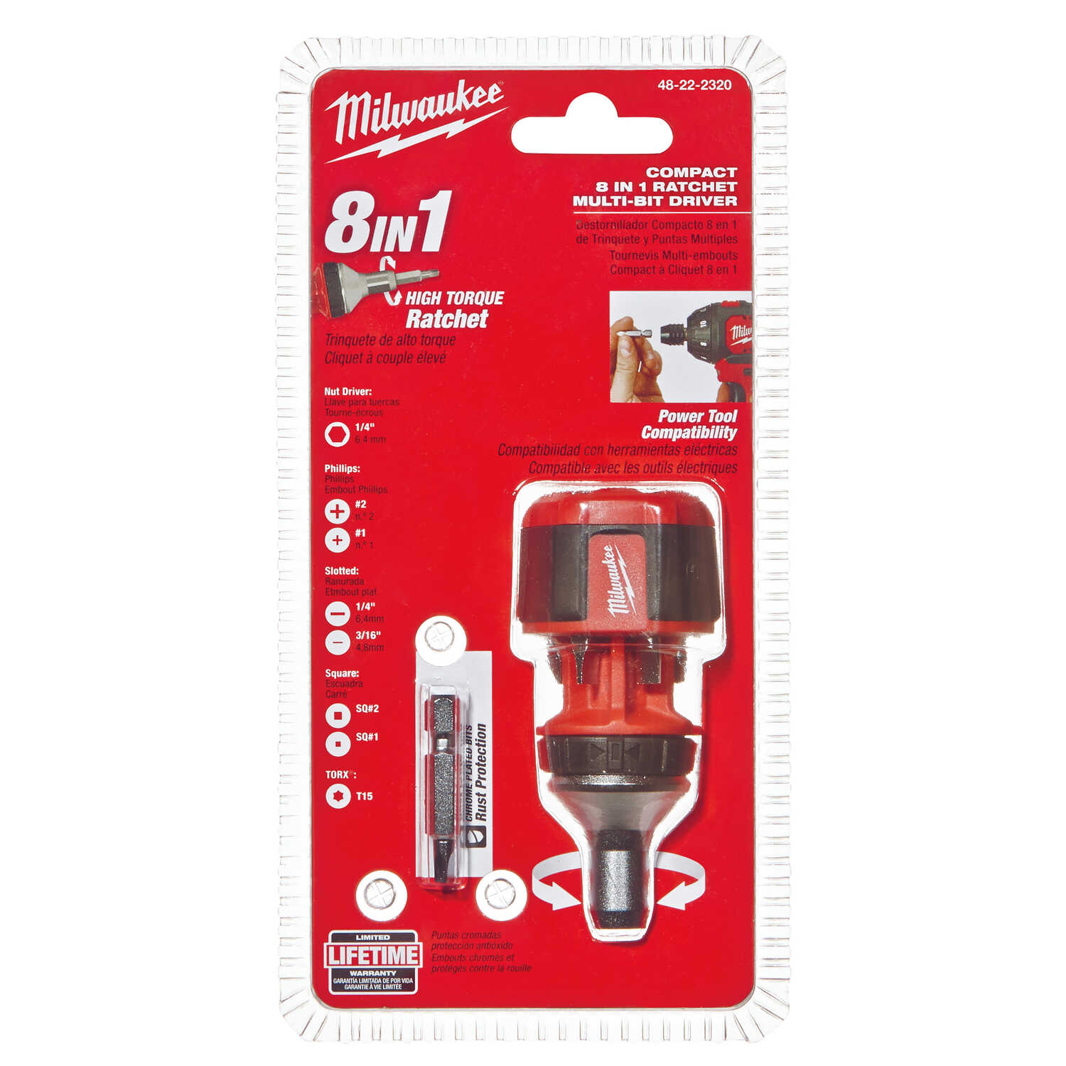 Milwaukee  8 pc. Assorted  Compact  Ratcheting Multi-Bit Driver  4.5 in. Chrome-Plated Steel