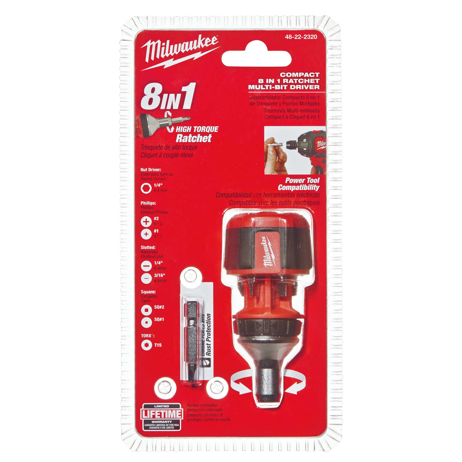 Milwaukee  8 pc. Assorted  Compact 8-in-1  4.5 in. Chrome-Plated Steel  Stubby Screwdriver/Nut Drive