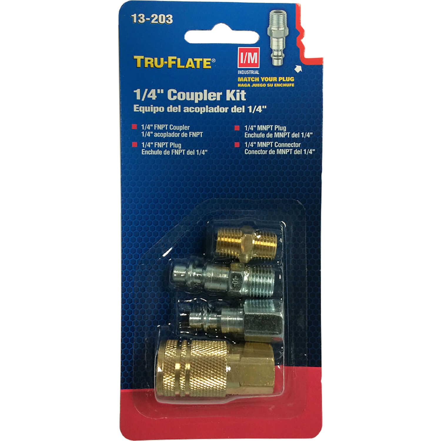 Tru-Flate  Brass/Steel  Air Coupler and Plug Set  1/4 in. Female  4 pc.