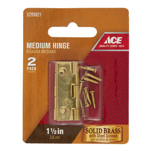 Ace  1-1/2 in. W x 1 in. L Polished Brass  Brass  Medium Hinge  2 pk