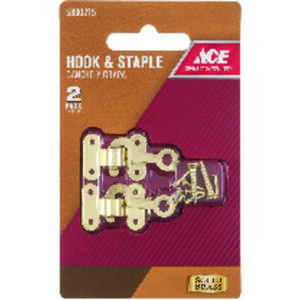 Ace  Satin  Gold  Brass  Small  Decorative Hook and Staple  2 pk